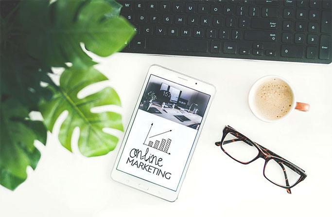 Marketing copywriter desk where content is written